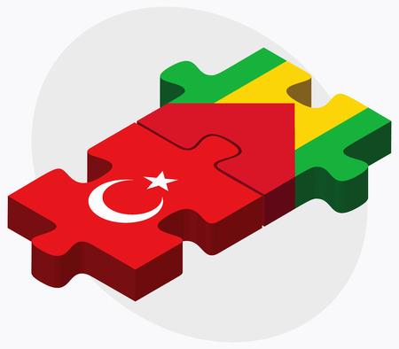 principe: Turquía y Sao Tomé y Príncipe banderas de rompecabezas aislados en fondo blanco Vectores