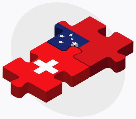 samoa: Switzerland and Samoa Flags in puzzle isolated on white background