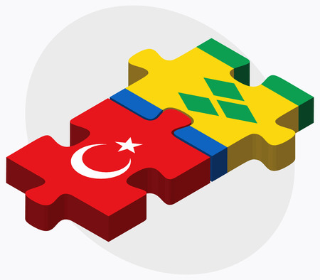 grenadines: Turkey and Saint Vincent and the Grenadines Flags in puzzle isolated on white background Illustration