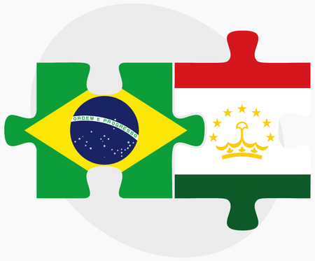 federative republic of brazil: Brazil and Tajikistan Flags in puzzle isolated on white background