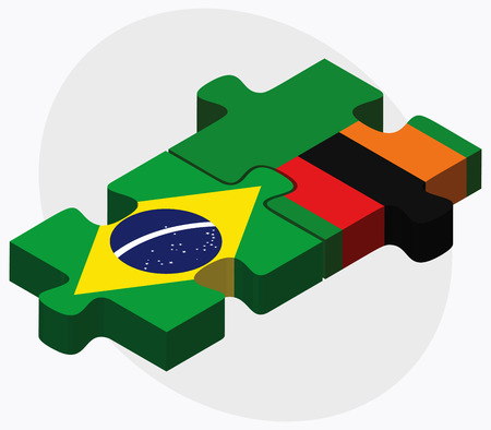federative republic of brazil: Brazil and Zambia Flags in puzzle isolated on white background