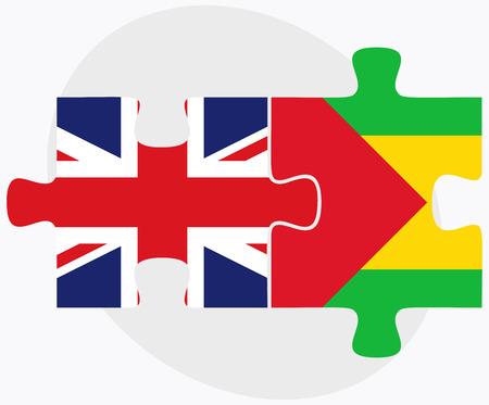 principe: Banderas del Reino Unido y Santo Tomé y Príncipe en rompecabezas aislados sobre fondo blanco