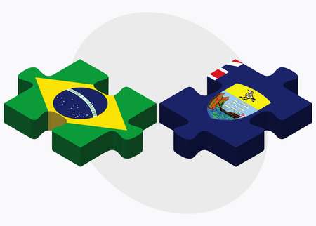 helena: Brazil and Saint Helena Flags in puzzle isolated on white background