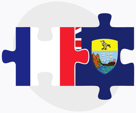 helena: France and Saint Helena Flags in puzzle isolated on white background