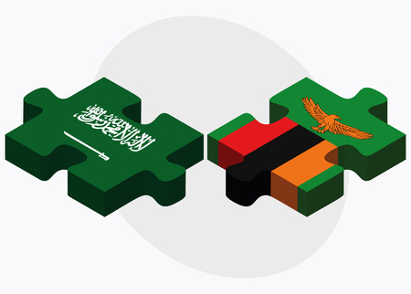 zambian flag: Saudi Arabia and Zambia Flags in puzzle isolated on white background Illustration