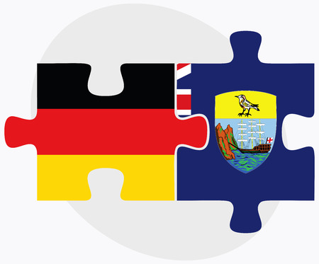 helena: Germany and Saint Helena Flags in puzzle isolated on white background