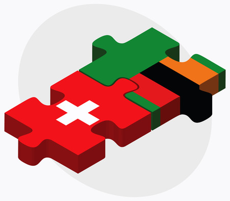 zambian: Switzerland and Zambia Flags in puzzle isolated on white background