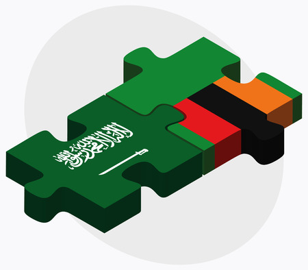 zambian: Saudi Arabia and Zambia Flags in puzzle isolated on white background Illustration