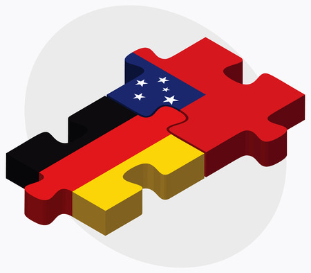federal republic of germany: Germany and Samoa Flags in puzzle isolated on white background Illustration