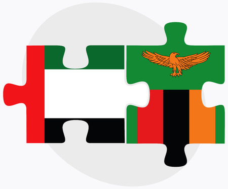 arab flags: United Arab Emirates and Zambia Flags in puzzle isolated on white background