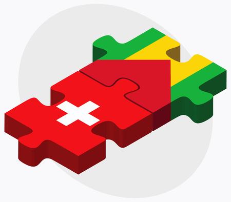 principe: Suiza y Sao Tomé y Príncipe banderas de rompecabezas aislados en fondo blanco