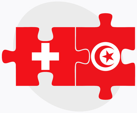 swiss flag: Switzerland and Tunisia Flags in puzzle isolated on white background