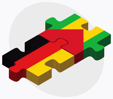principe: Alemania y Santo Tomé y Príncipe banderas de rompecabezas aislados en fondo blanco