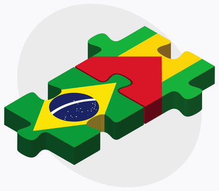 principe: Brazil and Sao Tome and Principe Flags in puzzle isolated on white background Vectores