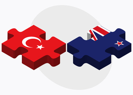 eurasian: Turkey and New Zealand Flags in puzzle isolated on white background Illustration