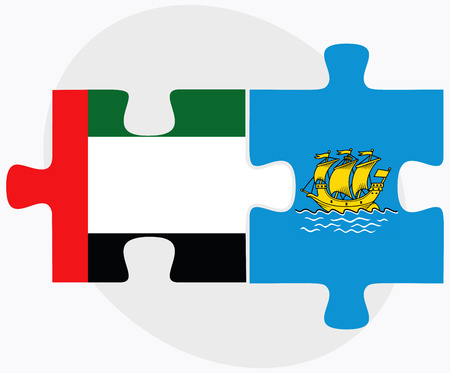 collectivity: United Arab Emirates and Saint Pierre and Miquelon Flags in puzzle isolated on white background