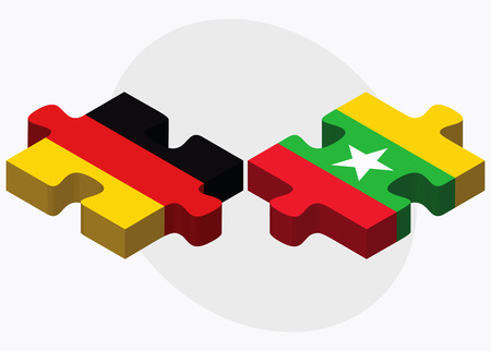 federal republic of germany: Germany and Myanmar Flags in puzzle isolated on white background Illustration