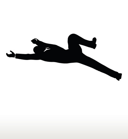 lowering: EPS 10 Vector illustration in silhouette of businessman falling