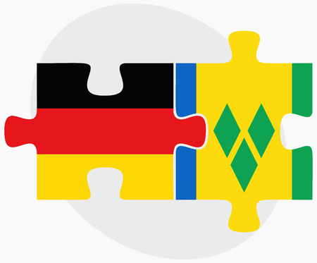 grenadines: Germany and Saint Vincent and the Grenadines Flags in puzzle isolated on white background