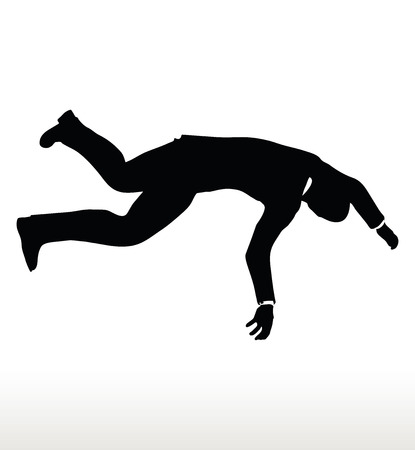 diminishing view: EPS 10 Vector illustration in silhouette of businessman falling