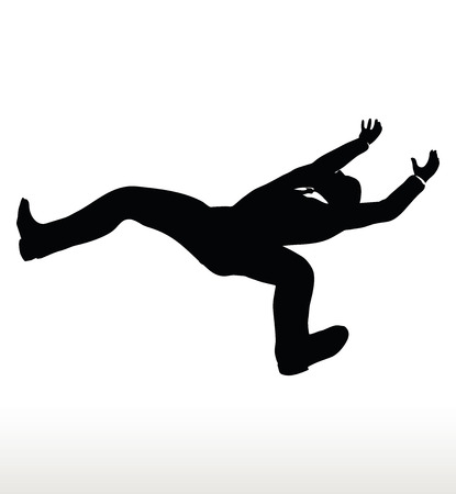 abating: EPS 10 Vector illustration in silhouette of businessman falling