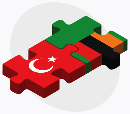 zambian flag: Turkey and Zambia Flags in puzzle isolated on white background Illustration