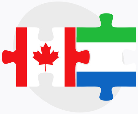 sierra: Canada and Sierra Leone Flags in puzzle isolated on white background Illustration