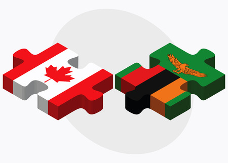 zambian flag: Canada and Zambia Flags in puzzle isolated on white background Illustration