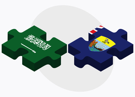 helena: Saudi Arabia and Saint Helena Flags in puzzle isolated on white background