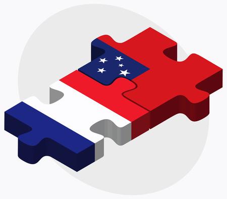 samoa: France and Samoa Flags in puzzle isolated on white background Illustration