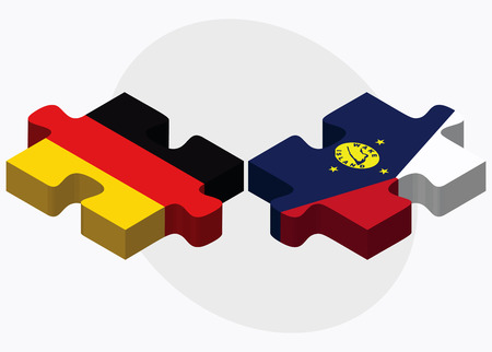federal republic of germany: Germany and Wake Island Flags in puzzle isolated on white background Illustration