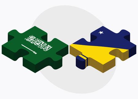 tokelau: Saudi Arabia and Tokelau Flags in puzzle isolated on white background