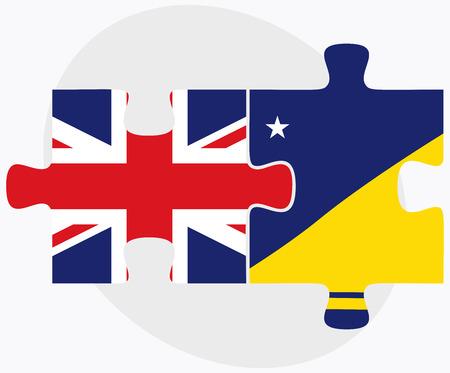 tokelau: United Kingdom and Tokelau Flags in puzzle isolated on white background