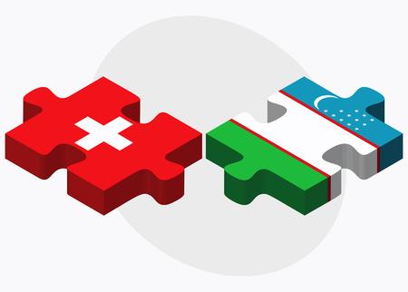 oezbekistan: Switzerland and Uzbekistan Flags in puzzle isolated on white background
