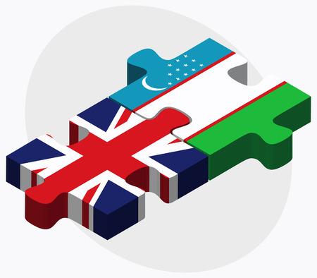 oezbekistan: United Kingdom and Uzbekistan Flags in puzzle isolated on white background
