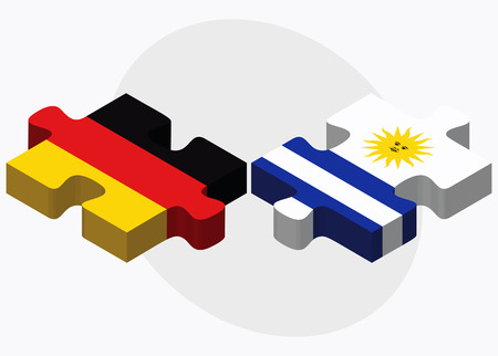 federal republic of germany: Germany and Uruguay Flags in puzzle isolated on white background