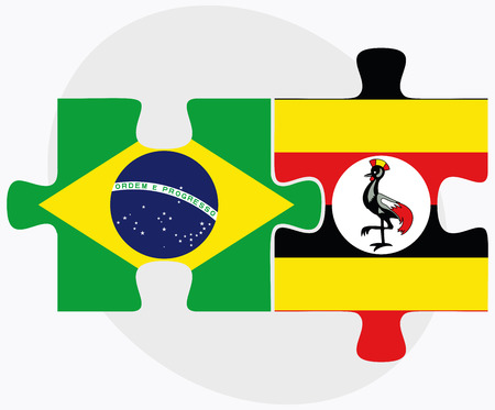 ugandan: Brazil and Uganda Flags in puzzle isolated on white background