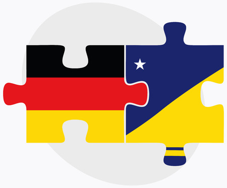 tokelau: Germany and Tokelau Flags in puzzle isolated on white background Illustration