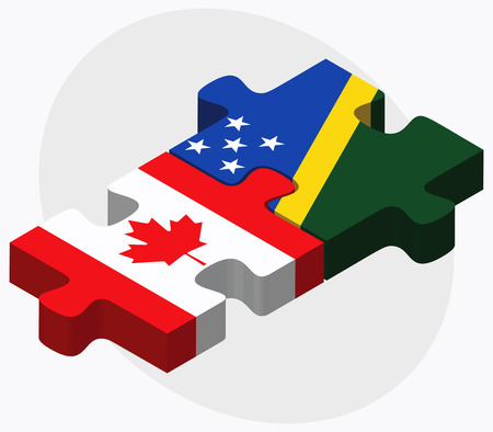 canadian pacific: Canada and Solomon Islands Flags in puzzle isolated on white background Illustration