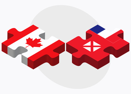 wallis: Canada and Wallis and Futuna Flags in puzzle isolated on white background Illustration