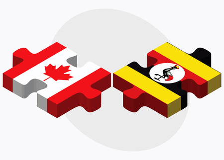 kampala: Canada and Uganda Flags in puzzle isolated on white background