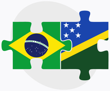 federative republic of brazil: Brazil and Solomon Islands Flags in puzzle isolated on white background Illustration