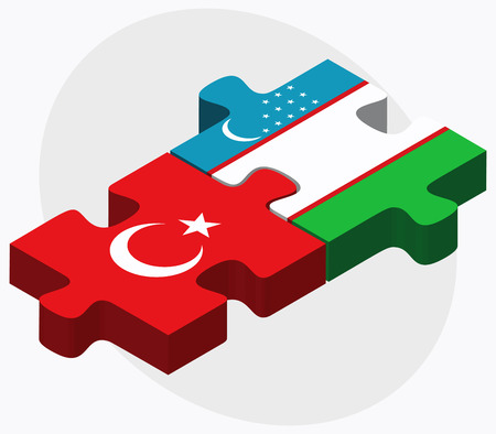 oezbekistan: Turkey and Uzbekistan Flags in puzzle isolated on white background