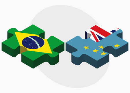 tuvalu: Brazil and Tuvalu Flags in puzzle isolated on white background Illustration