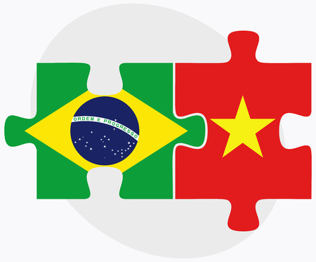 federative republic of brazil: Brazil and Vietnam Flags in puzzle isolated on white background