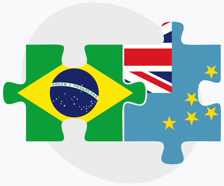 federative republic of brazil: Brazil and Tuvalu Flags in puzzle isolated on white background Illustration