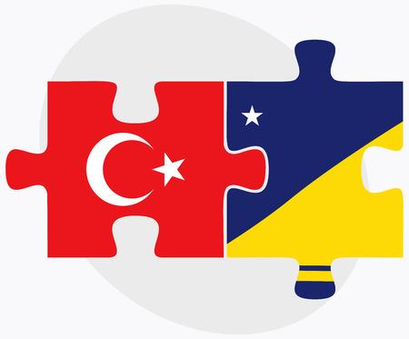 tokelau: Turkey and Tokelau Flags in puzzle isolated on white background Illustration