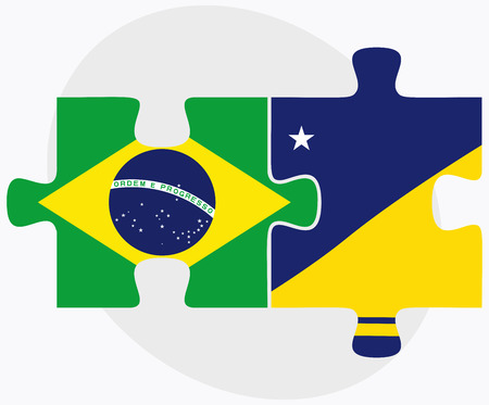 tokelau: Brazil and Tokelau Flags in puzzle isolated on white background