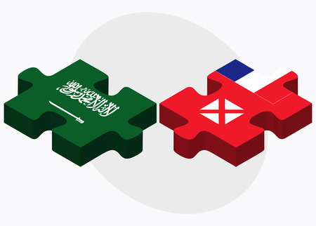 wallis: Saudi Arabia and Wallis and Futuna Flags in puzzle isolated on white background Illustration