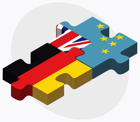 tuvalu: Germany and Tuvalu Flags in puzzle isolated on white background Illustration